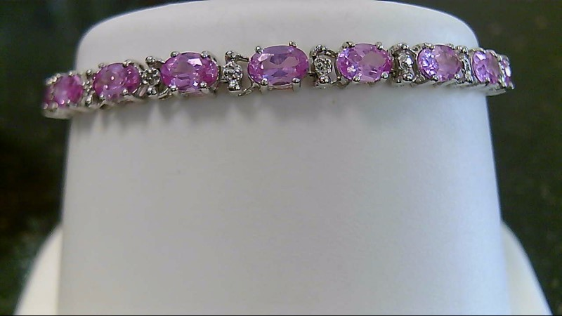 "6.25"" Pink Topaz 10K White Gold Gold Diamond Bracelet 0.19 CTTW"