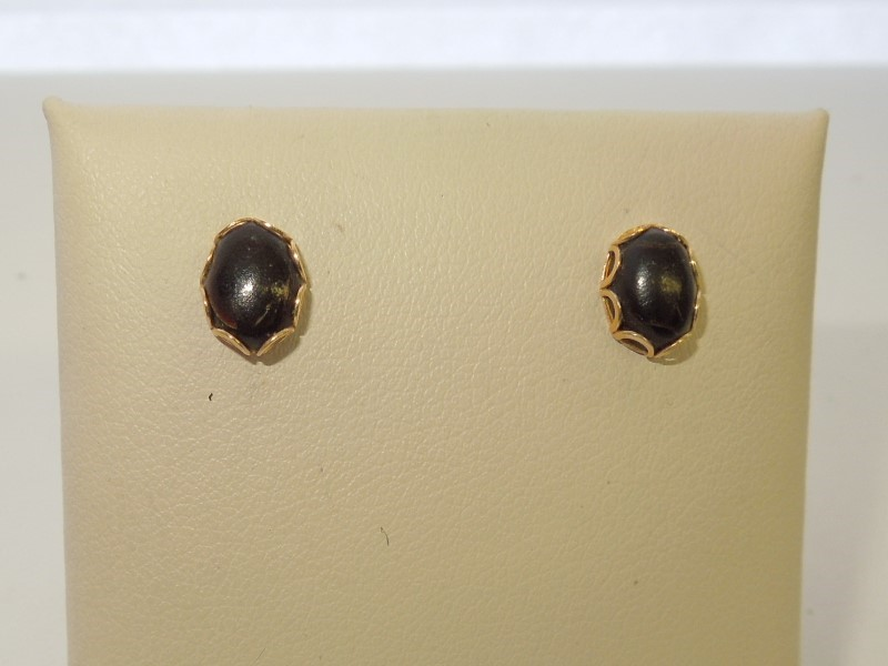 Synthetic Onyx Gold-Stone Earrings 14K Yellow Gold 0.8g