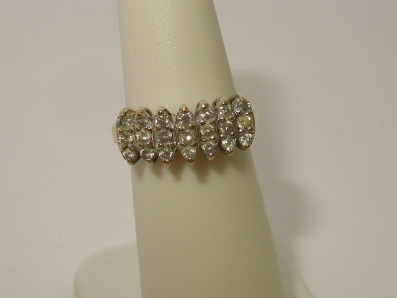 Lady's Diamond Cluster Ring 21 Diamonds .42 Carat T.W. 10K Yellow Gold 2.6g