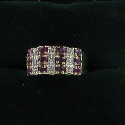 Synthetic Ruby Lady's Stone & Diamond Ring 9 Diamonds .18 Carat T.W.