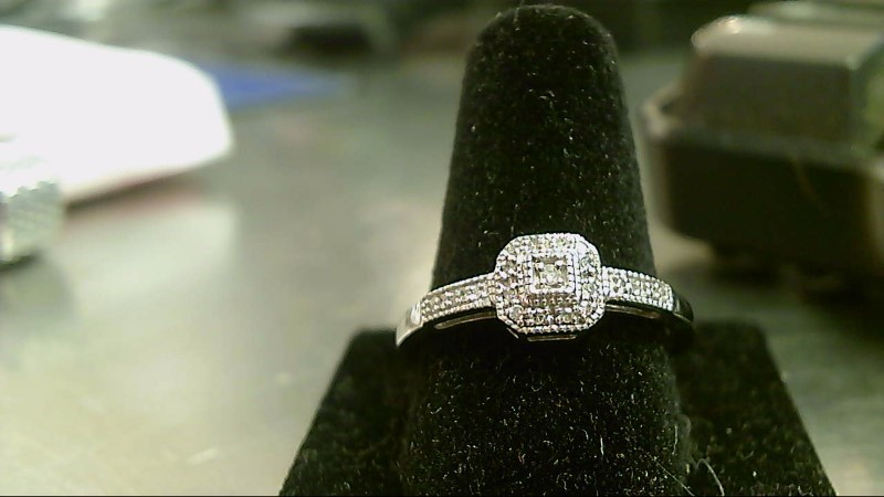Lady's Silver-Diamond Ring 17 Diamonds .17 Carat T.W. 925 Silver 1.9g