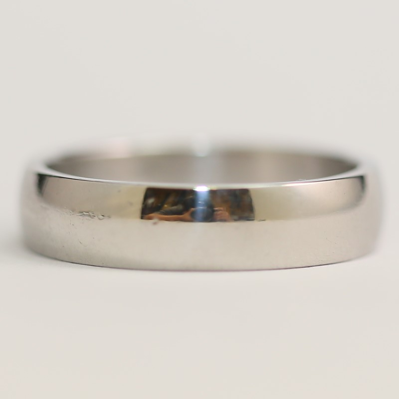 Stainless Flat Wedding Band with Matte Finish Size 12.5