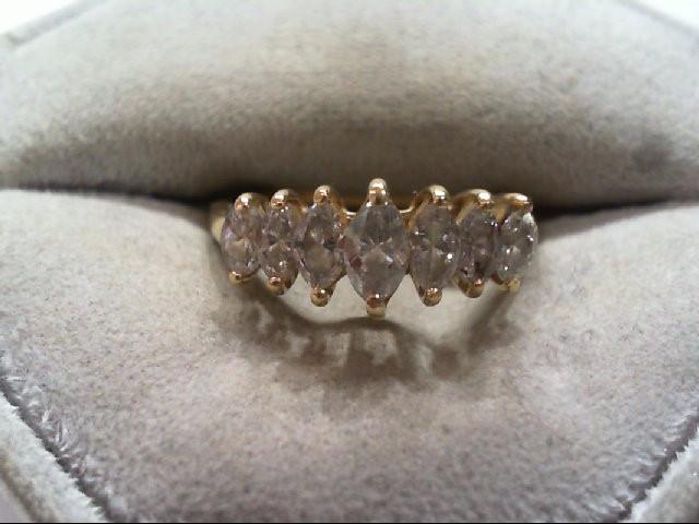 Lady's Diamond Cluster Ring 7 Diamonds 1.14 Carat T.W. 14K Yellow Gold 2.5g
