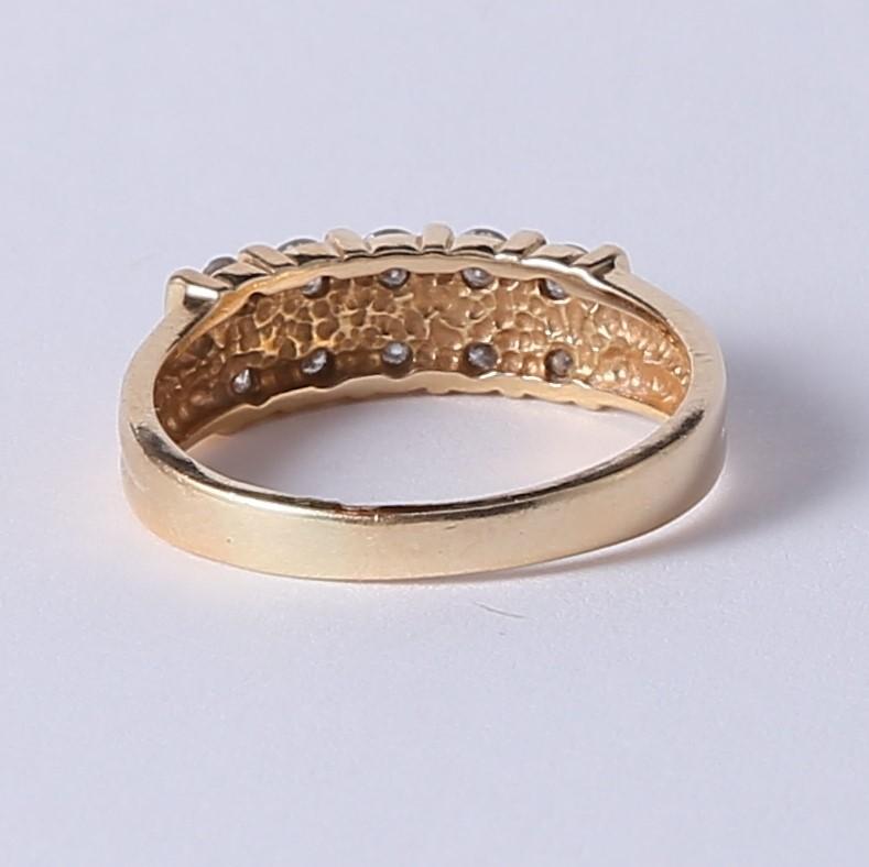 14K Yellow Gold Dual Band Round Brilliant Diamond Ring Size 8.8