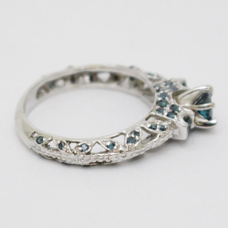 14K White Gold Ornate Milgrain Leaf Design Blue Diamond 3-Stone Engagement Ring