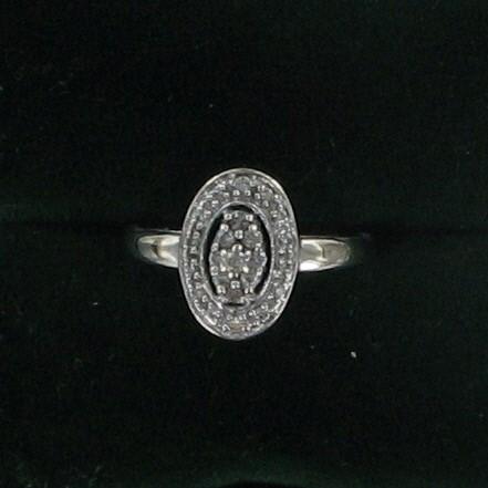 Lady's Diamond Cluster Ring 25 Diamonds .25 Carat T.W. 14K White Gold 1.5dwt