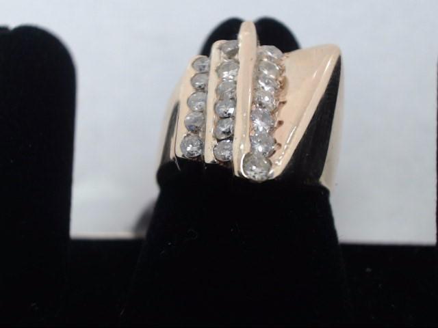 Gent's Diamond Cluster Ring 18 Diamonds .90 Carat T.W. 14K Yellow Gold 8.8g