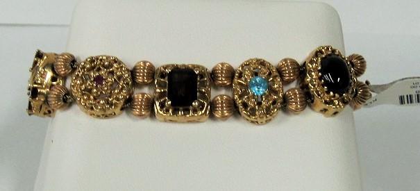 Gold-Stone Klein Slider Bracelet 10K Yellow Gold 29.58g