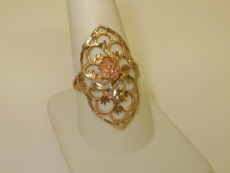 Lady's Gold Ring 10K Tri-color Gold 2.9g Size:10