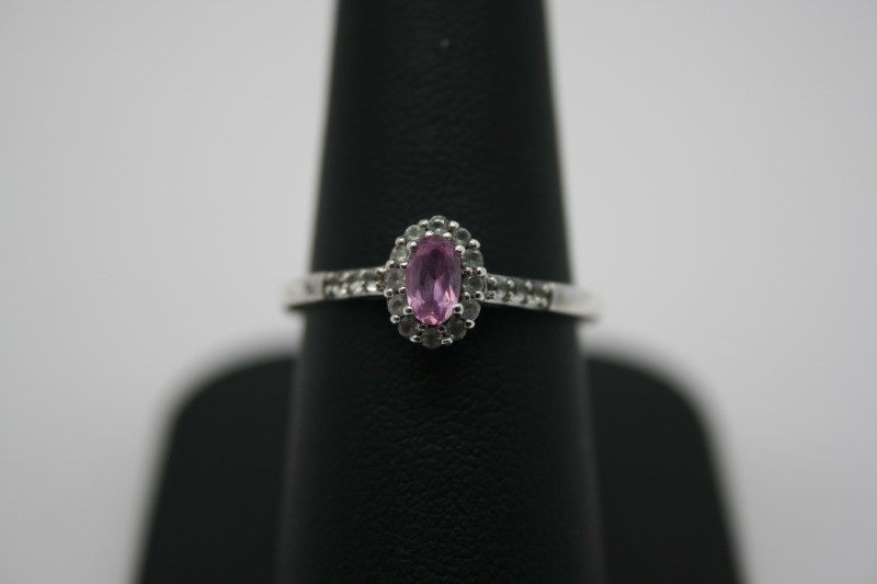 LADY'S FASHION COLORED STONE SILVER RING
