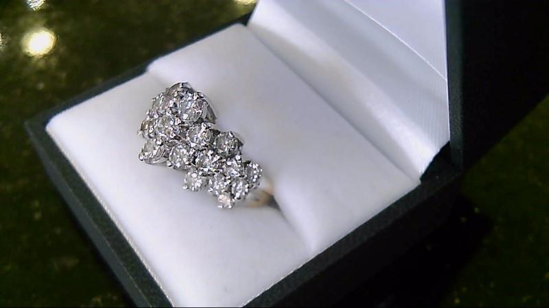 Lady's Diamond Cluster Ring 23 Diamonds 2.26 CTTW 14K Yellow Gold Ring