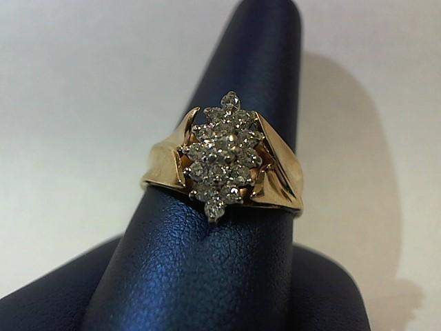 Lady's Diamond Fashion Ring 15 Diamonds .46 Carat T.W. 14K Yellow Gold 6.1g
