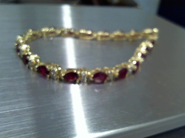 Synthetic Ruby Gold-Diamond & Stone Bracelet 38 Diamonds .38 Carat T.W.
