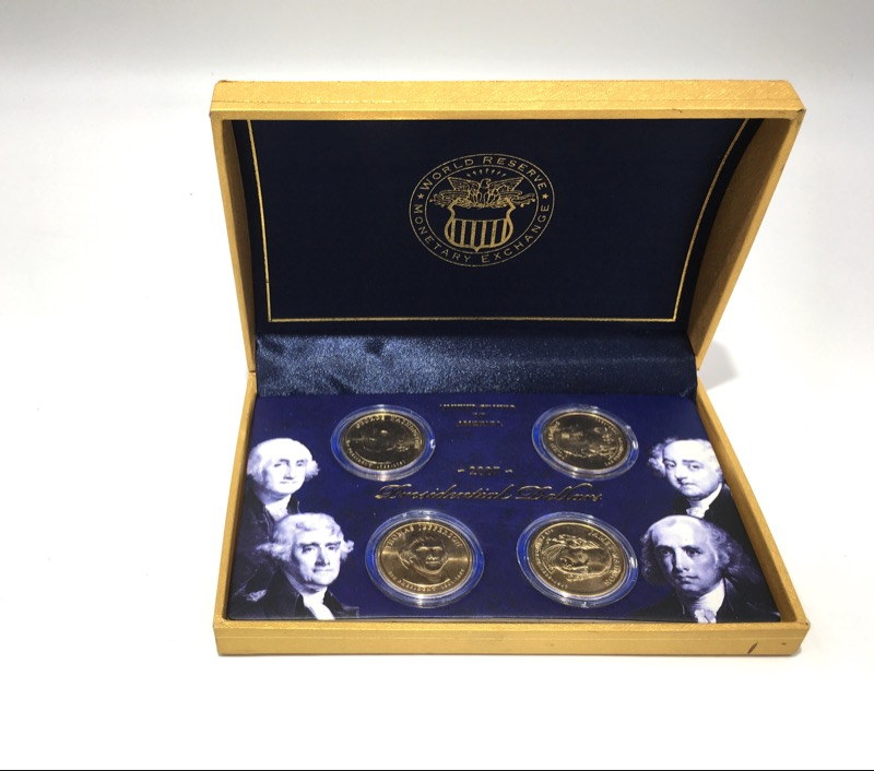 2007 & 2008 Presidential Dollar Collections - 8 Coins - In Boxes