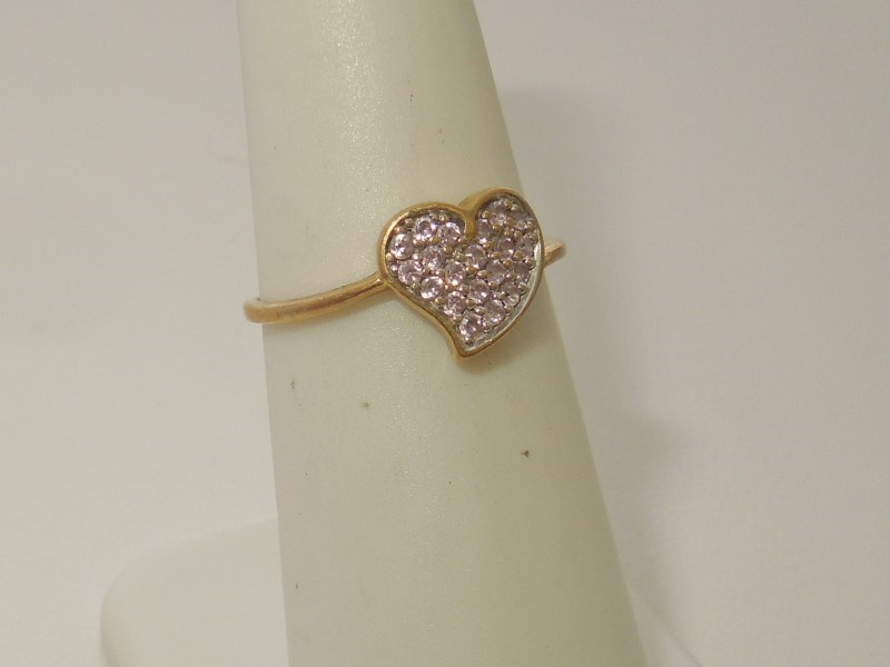 Pink Stone Lady's Stone Ring 10K Yellow Gold 1.4g