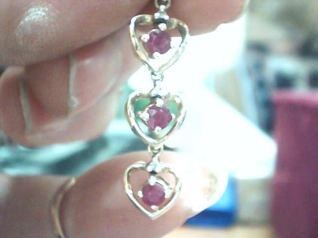 Synthetic Ruby Gold-Diamond & Stone Pendant 3 Diamonds .015 Carat T.W.