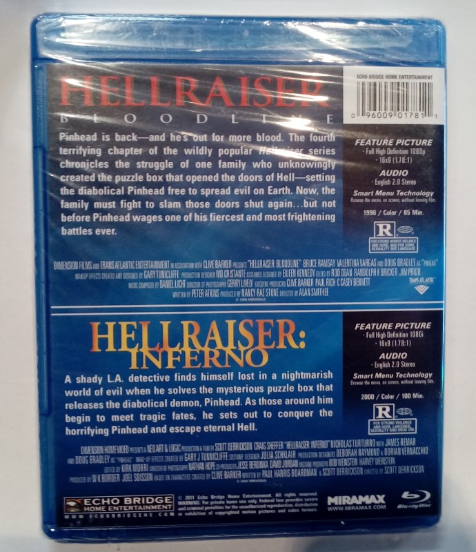 BLU-RAY MOVIE HELLRAISER BLOODLINE AND INFERNO **Factory Sealed**