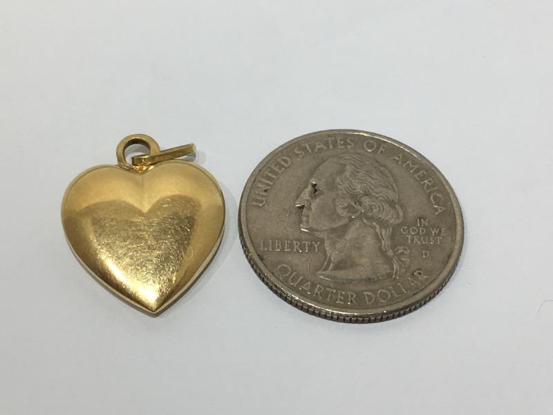 18K Yellow Gold Plain Polished 3D Puffy Heart Charm Pendant