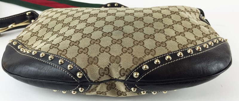 GUCCI 153691 SHELLY STUDDED PELHAM SHOULDER BAG