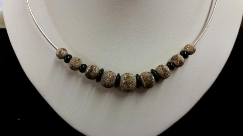Silver & Black Bead Accent Necklace