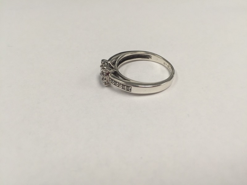 Lady's Silver-Diamond Ring 23 Diamonds .27 Carat T.W. 925 Silver 3.5g