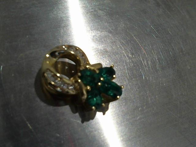Synthetic Emerald Gold-Diamond & Stone Pendant 24 Diamonds .72 Carat T.W.