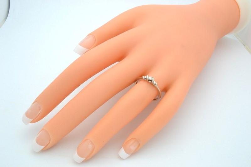 ESTATE 3 DIAMOND RING SOLID 10K WHITE GOLD ENGAGEMENT WEDDING SIZE 7