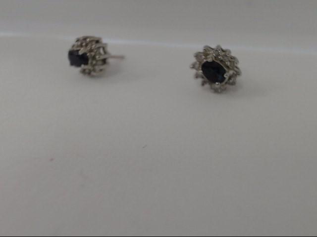 Blue Stone Gold-Diamond & Stone Earrings 24 Diamonds .48 Carat T.W.