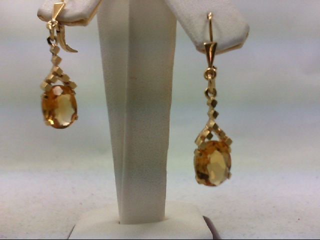 Citrine Gold-Stone Earrings 14K Yellow Gold 4.1g