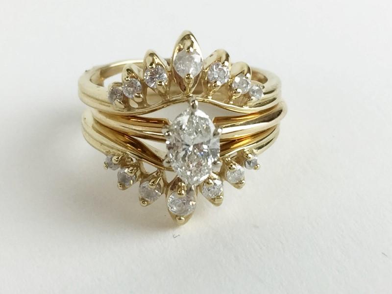 0.55cts Marquee w 16 Diamonds .66 Carat T.W. 14K Yellow Gold 5.78g Wedding Set