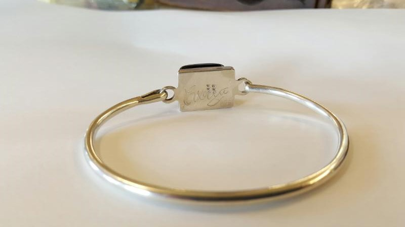 DICHROIC GLASS HOOKED BANGLE BRACELET AND MATCHING PENDANT .925 SILVER