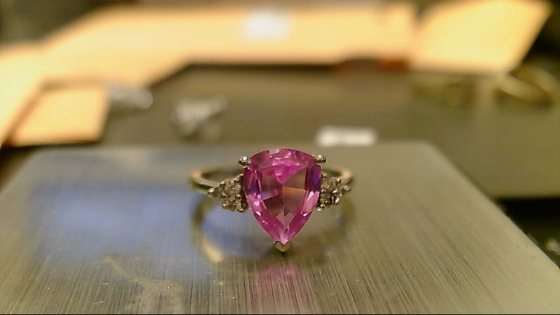Pink Stone Lady's Stone & Diamond Ring 6 Diamonds .12 Carat T.W. 10K White Gold