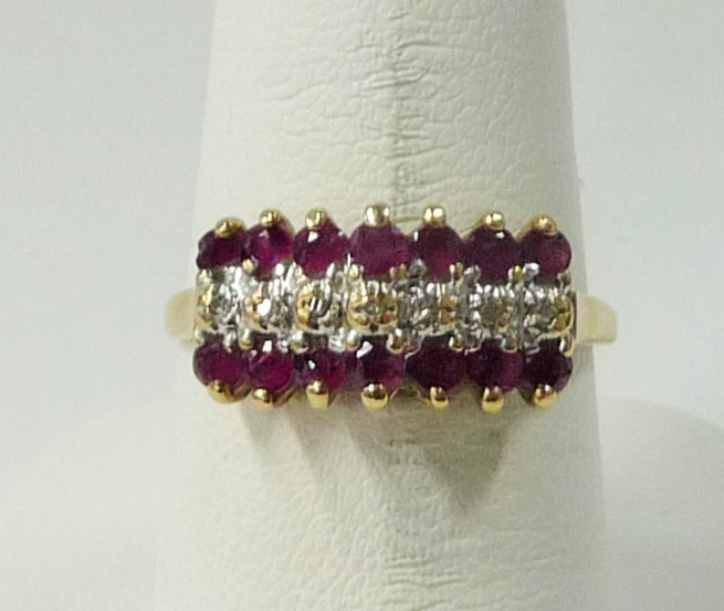 Synthetic Almandite Garnet Lady's Stone & Diamond Ring