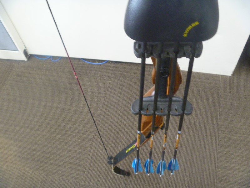 "PSE STALKER 60"" 35 LB. DRAW RECURVE BOW WITH QUIVER AND FOUR ARROWS"