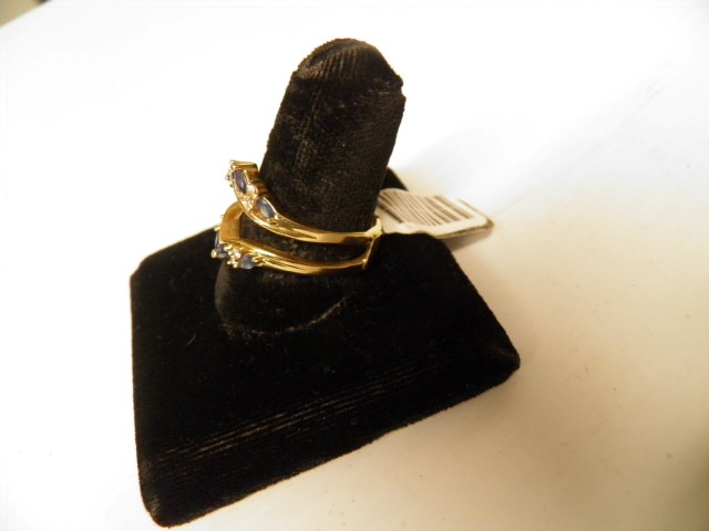 Sapphire Lady's Stone & Diamond Ring 8 Diamonds .16 Carat T.W. 14K Yellow Gold