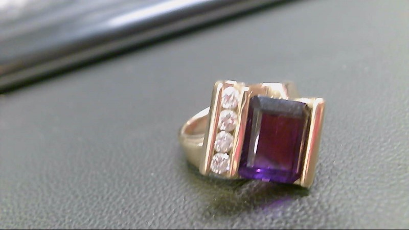 Synthetic Amethyst Lady's Stone & Diamond Ring 4 Diamonds .28 Carat T.W.