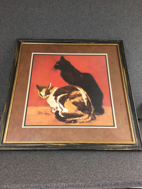 STEINLEN PRINT OF TWO CATS IN WOODEN FRAME. GOOD CONDITION.