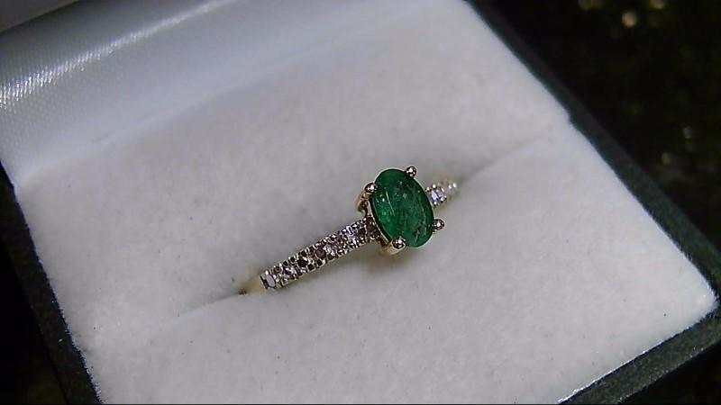 Emerald Lady's Stone & Diamond Ring 4 Diamonds .04 Carat T.W. 10K Yellow Gold