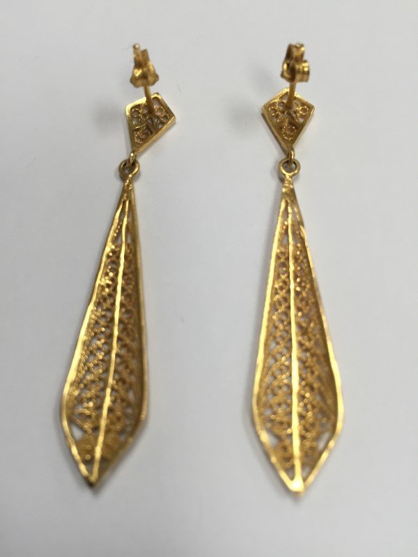 Gold Earrings 22K Yellow Gold 3.78g
