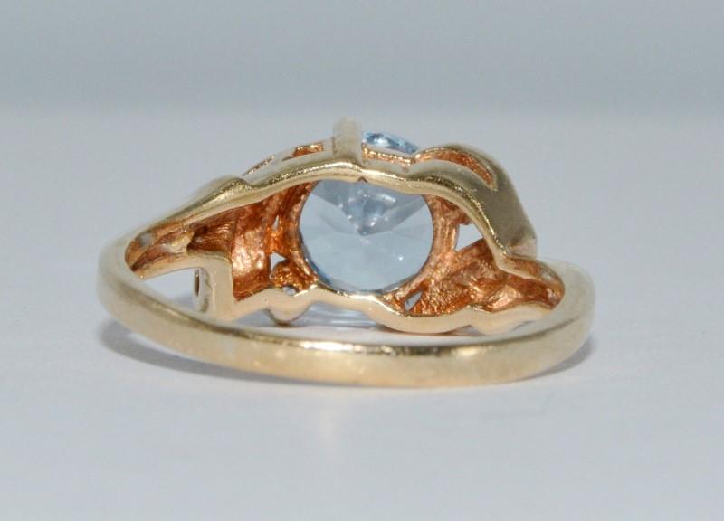 10K Yellow Gold Large Aquamarine & Diamond Textured Leaves Petals Statement Ring