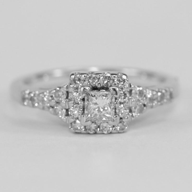 Vintage Inspired 14K W/G Princess & Round Engagement Ring Size 5.5