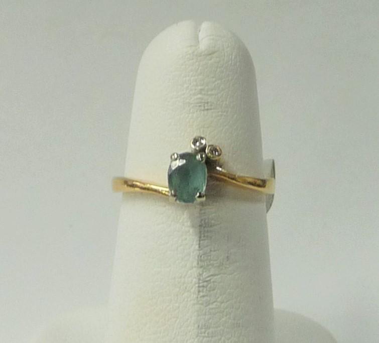 Synthetic Aquamarine Lady's Stone & Diamond Ring 2 Diamonds .06 Carat T.W.