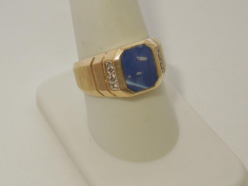 Blue Stone Gent's Stone & Diamond Ring 6 Diamonds .030 Carat T.W.