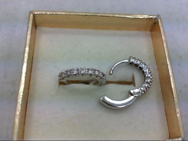 Gold-Diamond Earrings 16 Diamonds .32 Carat T.W. 14K White Gold 2.3g