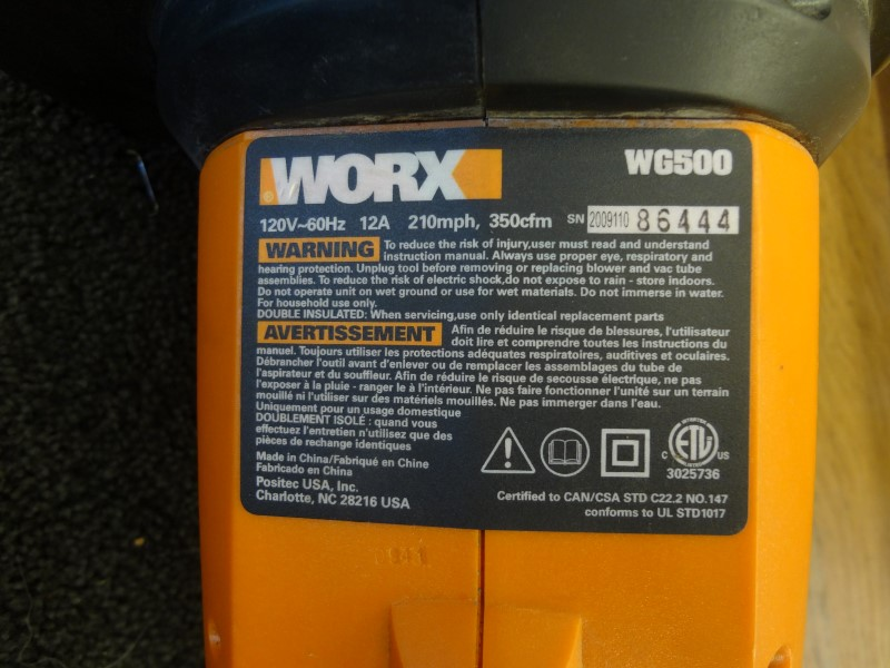 WORX WG500 TRIVAC 12 AMP ALL-IN-ONE ELECTRIC BLOWER-MULCHER-VACUUM *MISSING BAG*