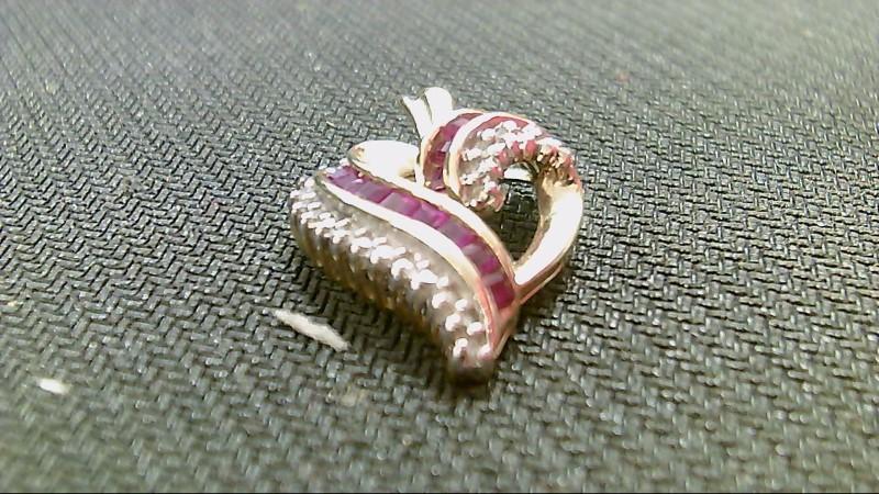 Synthetic Ruby Gold-Diamond & Stone Pendant 23 Diamonds .46 Carat T.W.