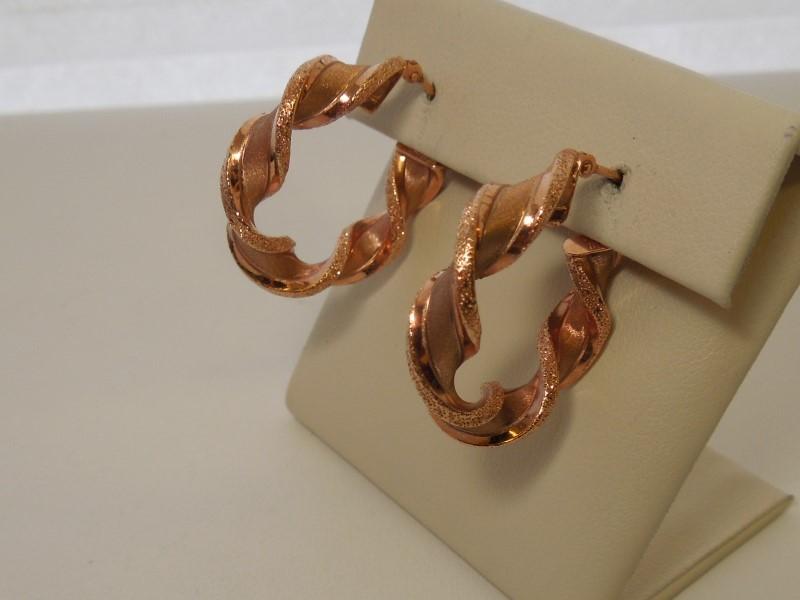 Gold Earrings 14K Rose Gold 2.8g