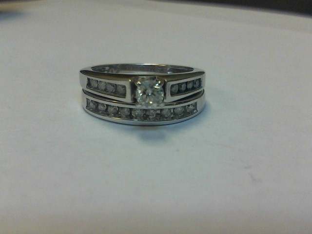 Lady's Diamond Wedding Set 17 Diamonds .47 Carat T.W. 14K White Gold 3.7dwt