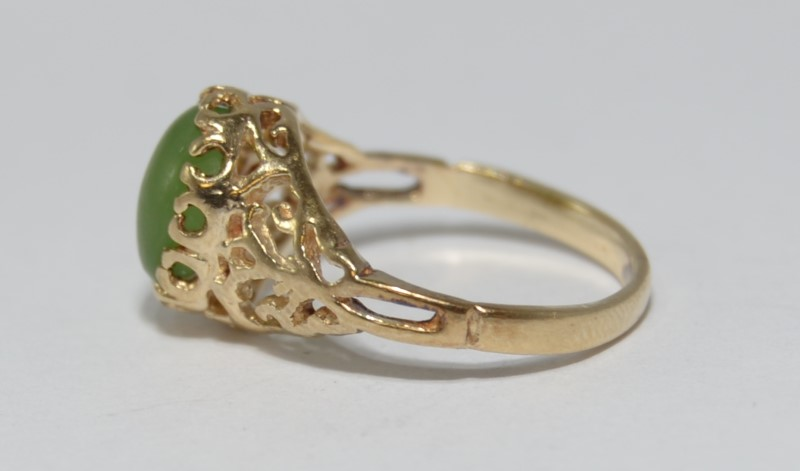 10K Yellow Gold Vintage Inspired Filigree Bezel Set Oval Jade Solitaire Ring 4.5