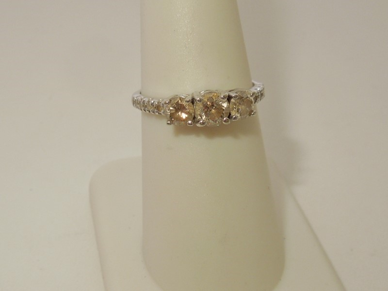 Lady's Diamond Fashion Ring 11 Diamonds .95 Carat T.W. 10K Yellow Gold 2.3g